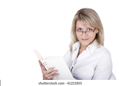 The blonde in eyeglasses with the book in hands