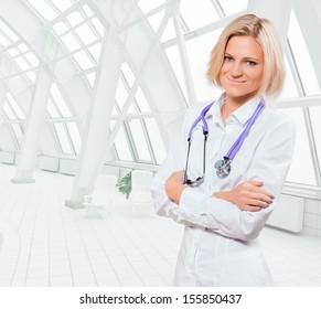 blonde female doctor
