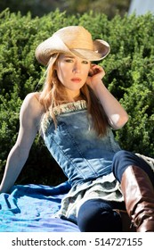 Blonde Female Model In Western Hat