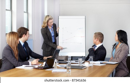 Blonde female present graph on flipchart during business meeting, while 4 more colleagues sits at conference table.
