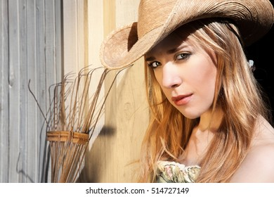 Blonde Female In Western Hat