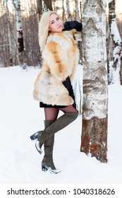 Blonde in fur coat, boots poses near bir�h outdoor at winter day in forest