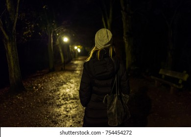 Blonde girl with cap in Kranichstein, Germany.