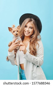 blonde girl with a dog