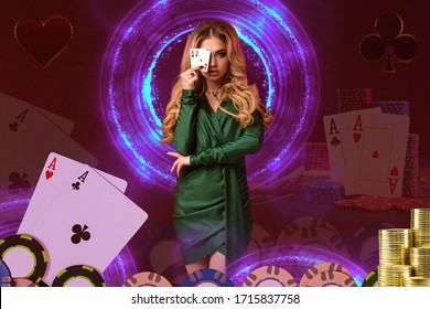 Blonde girl in green dress has covered her eye by two aces, posing on colorful background with neon circles, cards, chips. Poker, casino. Close-up