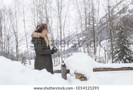 553fff0b0 Blonde Girl Long Hair Playing Snow Stock Photo (Edit Now) 1014121291 ...