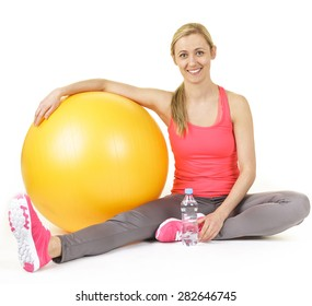 Blonde girl resting after exercises