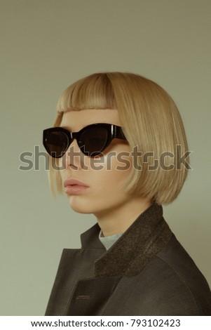 ff430d9a782e Blonde Girl Short Hair Style Fashion Stock Photo (Edit Now ...