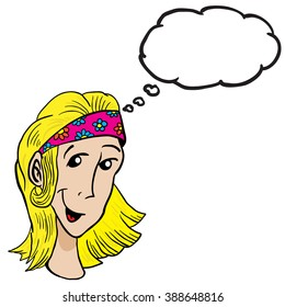blonde girl with thought bubble cartoon