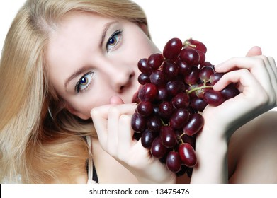 blonde with grapes