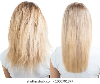 Blonde hair before and after treatment.