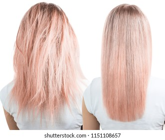 Blonde hair before and after treatment. Isolated on white background.
