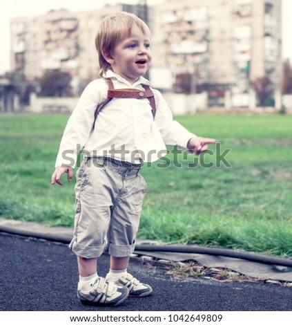 Blonde Hair Boy White Skirt Small Stock Photo Edit Now 1042649809