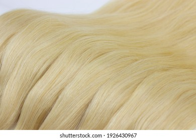 Blonde hair extensions close up
