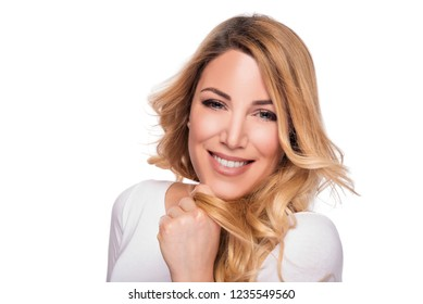 blonde hair model woman. Female portrait on white background. Studio shot.