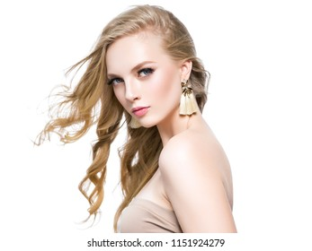 Blonde hair woman beauty  face and beautiful hairstyle woman female young happy model portrait