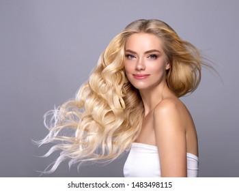 Blonde hair woman beauty girl model beautiful hairstyle image