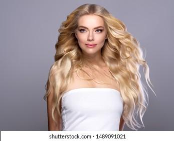 Blonde hair woman beautybeautiful hairstyle long hair female model