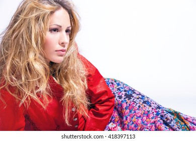 blonde hair woman portrait in studio