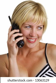 Blonde hair woman using cordless telephone