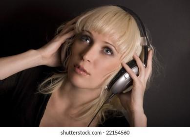 blonde and headphones