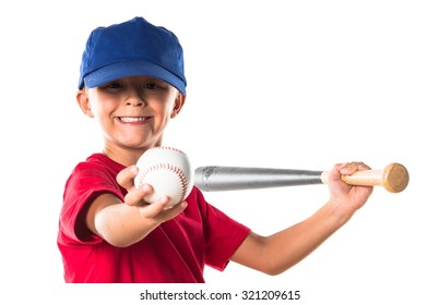 Blonde kid playing baseball