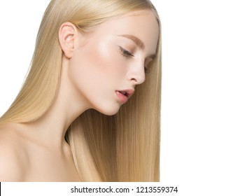 Blonde long hair smooth beauty woman with healthy shine blond haistyle isolated on white