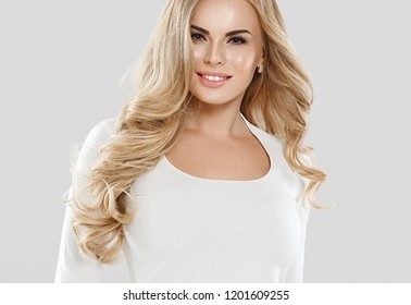 Blonde long hair woman casual natural makeup and beauty hairstyle