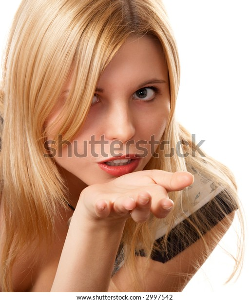 Blonde long-haired blonde girl on white background