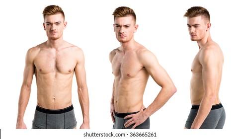 Blonde man in underwear