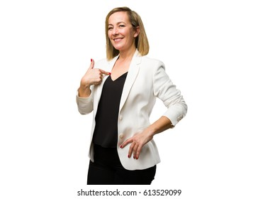 blonde mature woman pointing her self