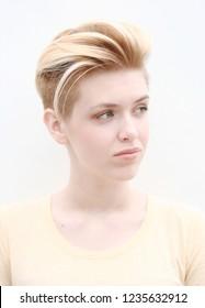 Blonde model girl teenager hair style