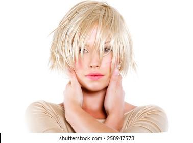 Blonde model posing.