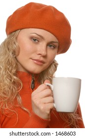 blonde and a mug of hot tea