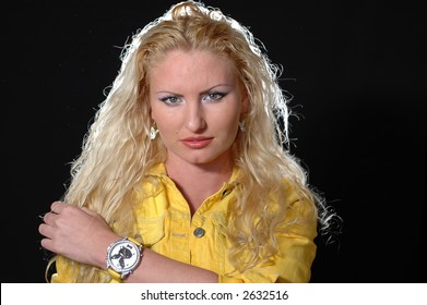 Blonde on black background