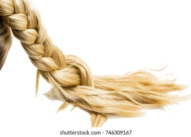Blonde pigtail isolated on white