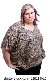 Blonde Plus size woman, a model, posing for a fashion editorial.