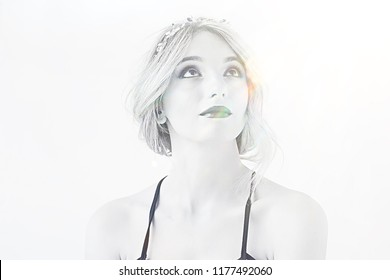 blonde portrait make-up white background / professional bright model make-up blond on white background, portrait of beautiful model