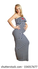 blonde pregnant woman in frock