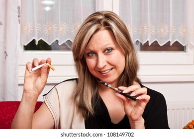 Blonde pretty woman chooses an electronic cigarette and destroys the normal