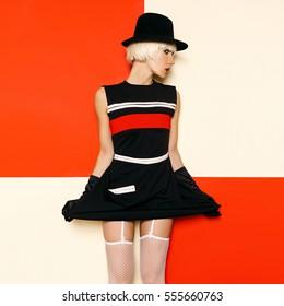 765189553e89 Blonde Retro Style Cabaret vintage clothing. Minimal Fashion. Stripe Design