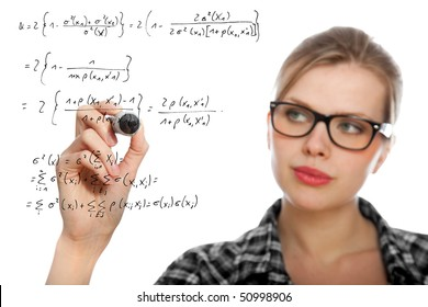 blonde student girl drawing a mathematical formula in the air, isolated on white