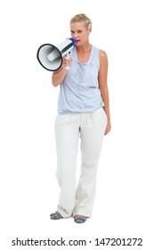 Blonde talking holding megaphone on white background