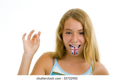 blonde teenager girl with british flag on tongue, isolated on white