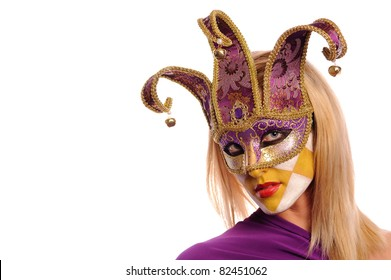 Blonde in violet carnival mask, isolated on white