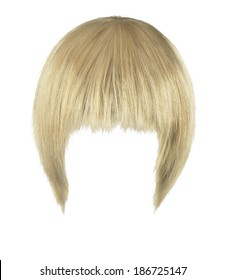 blonde wig on a white background