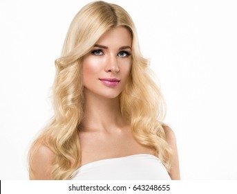 Blonde Woman Beautiful Portrait. Cosmetic concept, platinum Blond Hair Model Girl. Studio shot. Isolated on white.