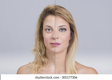Blonde woman before and after makeup