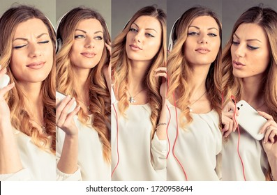 A blonde woman expressing different emotions
