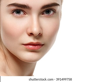 Blonde woman eyes lips nose beauty portrait close-up isolated on white